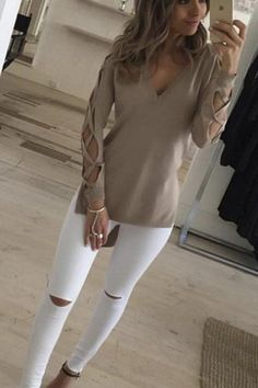 3a241af8862 Women Deep V Cross Strap Long-sleeved Split T-shirt - 5 Colours.  JumperTrending OutfitsFashion TrendsWomens ...