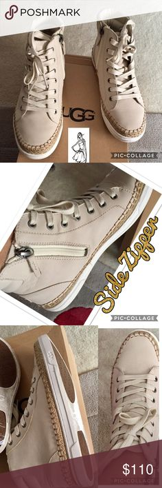 Ugg's Wheat Color High Top Sneakers Ugg's Wheat Color High Top Sneakers. Sneakers are trimmed in darker color Wheat threading. Have two pair of shoe laces, ivory color sole, & have only been worn once. Sneakers are too small for me. In Excellent Condition. Box included. UGG Shoes Athletic Shoes