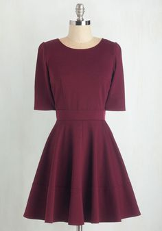 Dote Worry About It Dress in Wine - Knit, Red, Solid, Short Sleeves, Fall, Winter, Fit & Flare, Top Rated, Short, Casual
