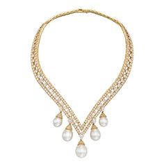 Van Cleef & Arpels Lamballe Pearl Diamond Drop Necklace | From a unique collection of vintage drop necklaces at http://www.1stdibs.com/jewelry/necklaces/drop-necklaces/