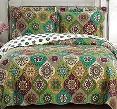 Quilt Coverlet Set Twin/Twin Xl Single Size Moroccan Boho Mandala Geometric Pattern Green Gold Wrinkle Free Lightweight Reversible Hypoallergenic Bedding Oversized