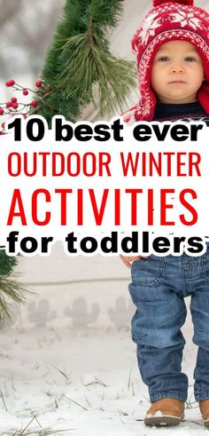 We love these winter activities for toddlers! Snow day play ideas for outside fun! Easy activities for toddler gross motor skills, sensory play, exploring nature, animal tracks, wild bird feeding, fine motor activities you can do outside in the winter too.
