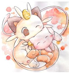 Mew and Meowth watercolor painting! Such cute cat pokemon 💜