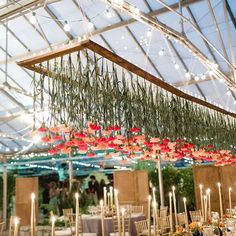 """Green Wedding Shoes / Jen on Instagram: """"Hanging carnations FTW!!! See more from this reception in a #greenhouse #onGWS today {direct link in profile} photos: @laurenfair // design + planning + flowers: @belovely_design // rentals: @maggpierentals // film: @willowtreefilms // catering: @starrevents #receptiondecor #flowerlove"""""""