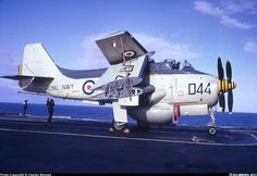 "Fairey Gannet AEW3 XL472 one of 849 ""B"" flights aircraft on the aft lift of HMS Ark Royal. Hebrides area, April 1971"