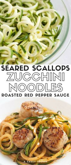 Zucchini noodles topped with a light, roasted bell pepper sauce and seared scallops. A gourmet meal ready in 40 minutes! via /asassyspoon/