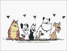 Mutts, tira de cómic con dos personajes maravillosamente inocentes.   que busca sensibilizar a los lectores, sobre el abandono de los animales y promueve la adopción de los mismos en las protectoras.
