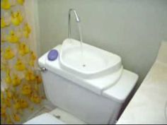 Aftermarket install.  Uses CLEAN water to wash hands, then that water fills tank/toilet to be used for the toilet bowl's flush use | Tierrapath.com   http://www.youtube.com/watch?v=X3cTyvfJAE8&sns=em