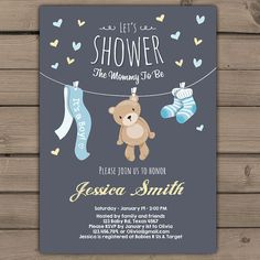 Teddy Bear Baby Shower Invitation Baby Shower door Anietillustration