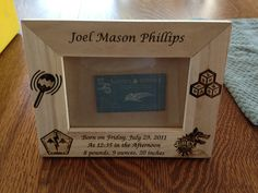 Sample Picture frame, customer wanted! If you would like to order a frame like this for your child, orders can be taken. Laser Engraving, Picture Frames, Child, Gift Ideas, Stitch, Pictures, Gifts, Portrait Frames, Photos