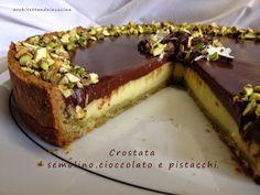 Frolla ai pistacchi, crema di semolino e ganache di cioccolata fondente