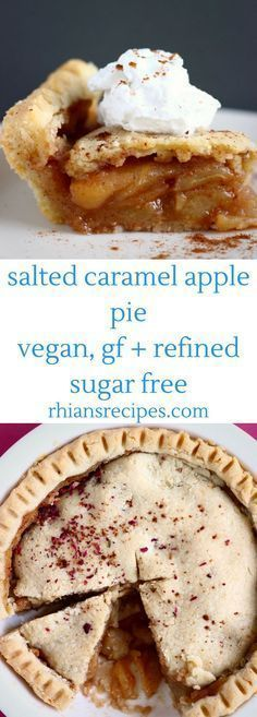 This Salted Caramel Apple Pie has a crispy, flaky, buttery pastry crust and is filed with salted caramel apples. Vegan, gluten-free + refined sugar free! Perfect for autumn/fall and Thanksgiving!