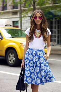 Blogger Arielle Nachmani of Something Navy fame was spotted in an Alice + Olivia printed midi skirt that screams 'summer'!