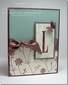 handmade monogram card ... chocolate, vanilla and aqua ... delicate blooms and tall letter ...