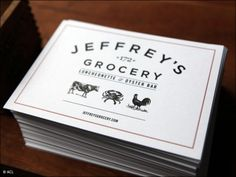Jeffrey's Grocery - west village Food Packaging Design, Branding Design, Logo Design, Logo Branding, Restaurant Branding, Restaurant Design, Meat Restaurant, Typography Logo, Typography Design