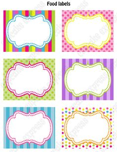 INSTANT DOWNLOAD diy Candy Shoppe Birthday Party  PRINTABLE Food Labels pink green blue yellow orange  candyland on Etsy, $4.00