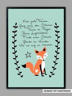 """""""HAB GROßE TRÄUME"""" Kunstdruck in mint, Geschenk von SMART ART Kunstdrucke ® auf DaWanda.com"""