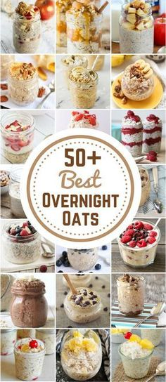 Healthy Meals 50 Best Overnight Oat Recipes - Are you always in a rush in the morning and end up stopping at a fast food drive thru for breakfast? Save money and time by starting your morning out right with these healthy overnight oats. Mason Jar Meals, Meals In A Jar, Healthy Breakfast Recipes, Healthy Snacks, Fast Breakfast Ideas, Best Healthy Recipes, Diet Recipes, Healthy Fridge, Breakfast Pictures