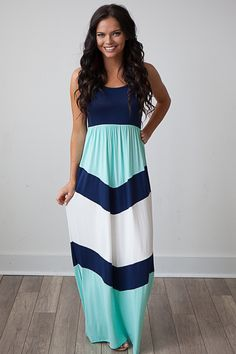 Magnolia Boutique Indianapolis - Chevron Colorblock Tank Maxi - Navy, $39.00 (http://www.indiefashionboutique.com/chevron-colorblock-tank-maxi-navy/)