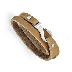 Stainless Steel Light Brown Leather Wrap Bracelet SRB1215