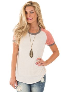 Lime Lush Boutique - Oatmeal Color Block Tee with Charcoal Contrast, $28.99 (https://www.limelush.com/oatmeal-color-block-tee-with-charcoal-contrast/)20% OFF SITE WIDE  Discount applied at checkout. Excludes new arrivals and already marked-down items.
