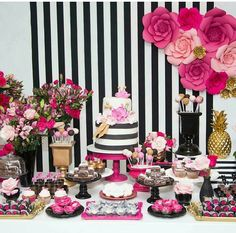 33 Table decoration ideas: How to make the perfect birthday table - Geburtstagsbilder - Birthday Table, 30th Birthday Parties, Mom Birthday, Kate Spade Party, Birthday Decorations, Table Decorations, Bridal Shower, Baby Shower, Girl Shower