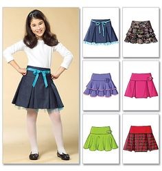 Butterick Sewing Pattern Girls' Pleated or Ruffled Skirts Girls Skirt Patterns, Sewing Patterns Girls, Fashion Kids, Girl Fashion, Rosa Rock, Skirts For Kids, Cute Skirts, Sewing Clothes, Kind Mode