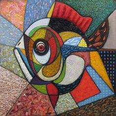 5D DIY Diamond painting craft kit.  Abstract Crazy Quilt Fish.  Square drill, 6 kit sizes to pick from.