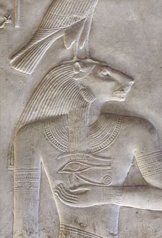 "[Egypt 'Nefertem in Nefertem Chapel at Abydos.'This relief detail shows a lion-headed Nefertem, surmounted by a falcon and holding a ""wadjet' eye. Ancient Egypt Art, Ancient Aliens, Ancient Artifacts, Ancient History, Art History, European History, Ancient Greece, American History, Egyptian Mythology"