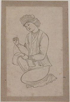 Young Man Sewing Date: first half 17th century Geography: Iran Medium: Ink on paper Dimensions: 4.87 in. high 3.00 in. wide (12.4 cm high 7.6 cm wide) Metropolitan Museum of Art 13.172