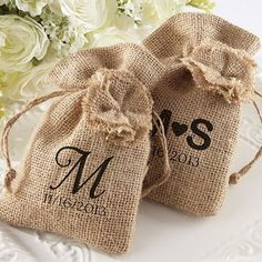 Personalized Burlap Favor Bags with Drawstring Ties - perfect rustic wedding favors  would do something simple and generic (infinity symbol?)so guests could reuse bags for jewelry, gadgets, etc.
