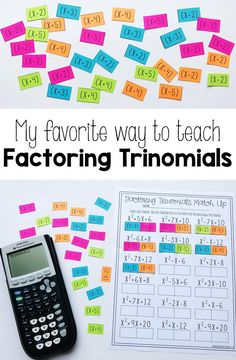 Factoring Polynomials (Trinomials) Activity - Beginner This was such a great hands on Algebra activity to get my high school math students some practice at factoring trinomials down to a set of 2 binomials. My secondary math students really seemed to have Algebra Activities, High School Activities, Maths Algebra, Algebra Projects, Algebra Worksheets, Math Multiplication, Teaching Secondary, Secondary Math, Teaching Math