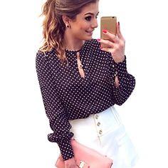 Long Sleeve Slit Open Women Blouse Chiffon Hollow Sexy Casual Shirt Plus Size Women Tops Blusas bluse Polka Dots Shirt Top