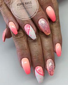 Gel on natural nails hand painted nail art juicy grapefruit ombré and pixel effect #summer2018 #nails #nailart #gelnails #holiday #hot #shiny #summernails #sunset #sunshine #bling #glitter #handpaint #fashion #instalove #instasummer #girls #gelpolish #art #bright #neoncolors #ombrenails #ombre #love #lovethem