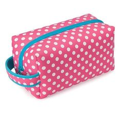 31fb536e7d78 Occasionally Made Pink Polka Dot Zipper Dopp Kit Bag Travel Case Neoprene  Turquoise