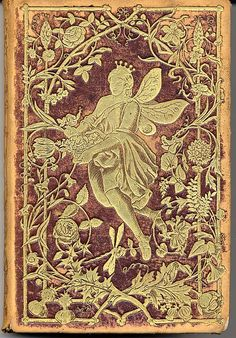 An unusual and rare book of German poetry. The book is bound in brown leather and embossed w/gold designs of flowers and the flower fairy.