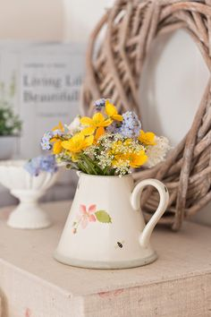 Apple Blossom Mini pitcher filled with beautiful freshly cut flowers Spring Is Here, Spring Home, Farmhouse Style Decorating, Porch Decorating, Valentine Decorations, Thanksgiving Decorations, Home Flowers, Cut Flowers, Susie Watson