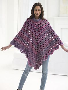 Boho Poncho - free crochet pattern by Lion Brand Yarn. Sizes: S/M/L, 1X/2X/3X. Chunky yarn.