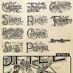 Antique Engraved Labels and Vintage Emblems: Spices, Foods, Plants . Printable Labels, Printable Art, Free Printables, Labels Free, Vintage Food Labels, Vintage Recipes, Vintage Clipart, Vintage Ephemera, Pub Vintage