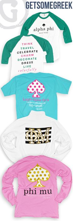 GETSOMEGREEK LOVES SORORITY CUSTOM GROUP ORDERS AND WE ESPECIALLY LOVE IT WHEN THEY ARE INSPIRED BY KATE SPADE! LIVE COLORFULLY! ALPHA PHI! KAPPA ALPHA THETA! PHI MU!