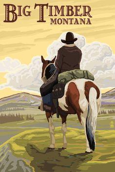 Big Timber, Montana - Cowboy on Bluff - Lantern Press Poster