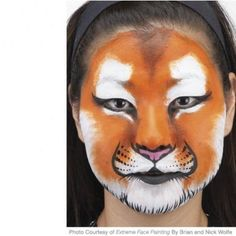 Step-by-step tiger face painting instructions from Extreme Face Painting