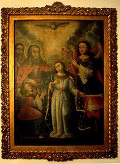 """""""Coronación de la Virgen por los ángeles""""      Escuela cuzqueña. Siglo XVIII.  Óleo/tela. Medidas: 111 x 80 cms."""
