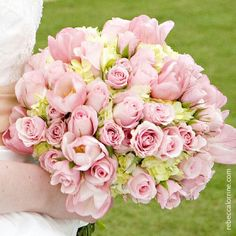 {Round Bridal Bouquet Comprised Of: Pink Roses, Spray Roses, & Tulips, + Pastel Green Hydrangea····················}