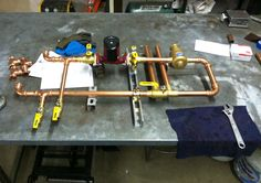 Work is always ongoing in the shop, as with this work-in-progress at Radiant Engineering. #hydronics #radiant heating
