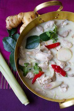 #ThaiRecipe of the Day: Thai Coconut-Galangal Chicken Soup (tom kha gai) from Thai Airways International's new Thai menu