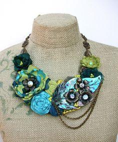 fleur de l'ormeau bib necklace with carved by WrappedInClover