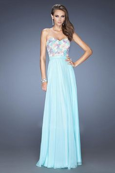2014 Sweetheart A Line Prom Dress With Colorful Applique Embellished Bodice Chiffon Floor Length - $129.99 - http://www.elleprom.com/2014-Sweetheart-A-Line-Prom-Dress-With-Colorful-Applique-Embellished-Bodice-Chiffon-Floor-Length