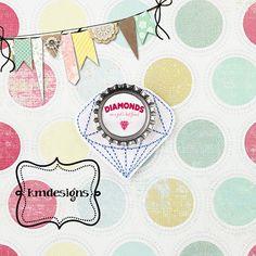 Bottle cap Diamond Feltie ITH Embroidery design file