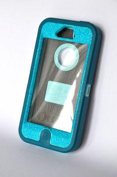 Otterbox Case iPhone 5 Glitter Cute Sparkly Bling Defender Series Custom Case Blueberry Slush /Mineral Blue